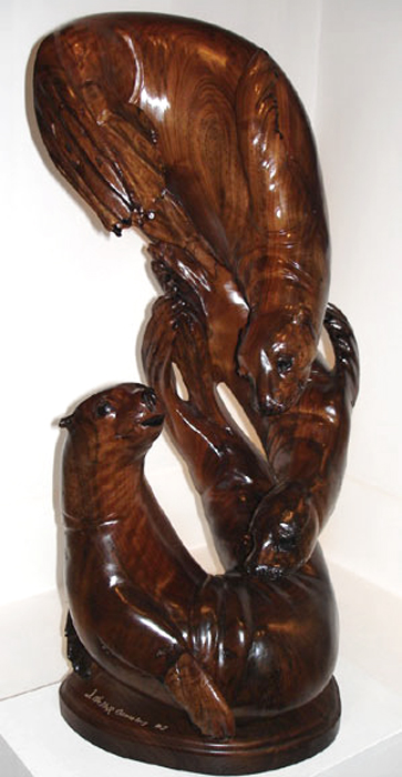 "Dance of Oceans  32"" tall x 14"" wide x 15"" deep, solid hand-carved black walnut"