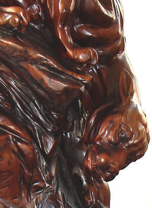 "Elemental Force (detail)  69"" tall x 48"" wide x 32"" deep, solid hand-carved black walnut"