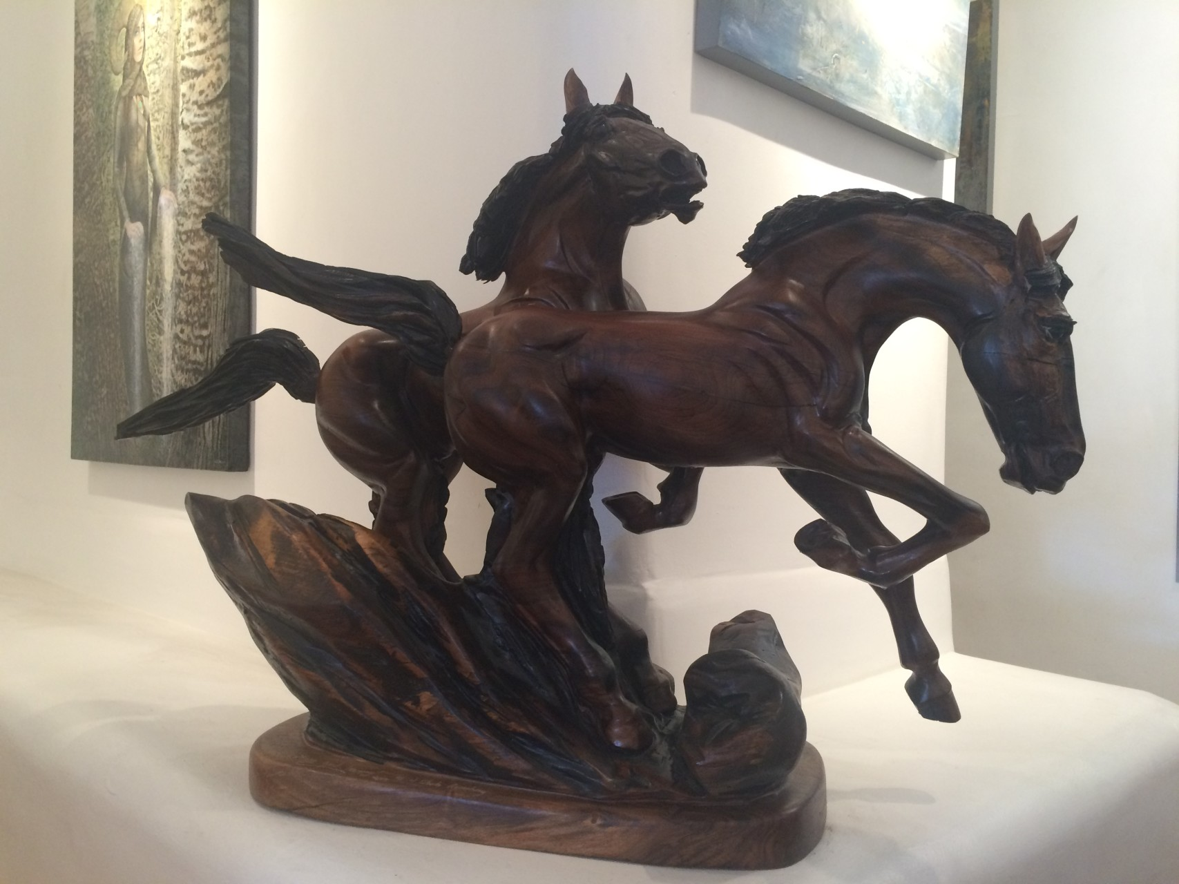 "Horse Play 47"" x 31"" x 16"" black walnut"