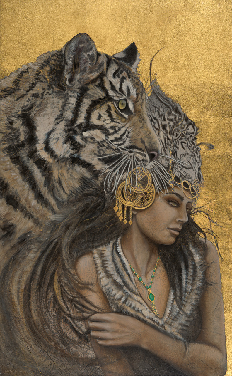 """Isitva 29"""" x 18"""" earth pigments, 23kt gold, oil on panel"""
