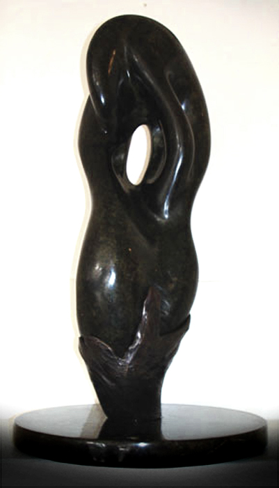 "Life is a Gift   20"" x 7""   hand-carved Soapstone and bronze"