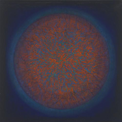 "Gleam    36""x 36"" rice paper, minerals, oil on canvas"