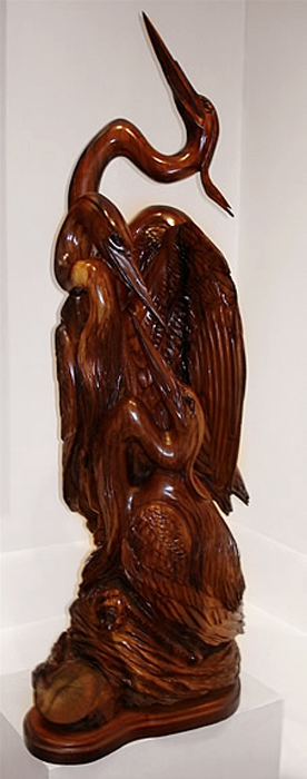"River Dreams  48"" tall x 21""wide x 15"" deep, solid hand-carved black walnut"