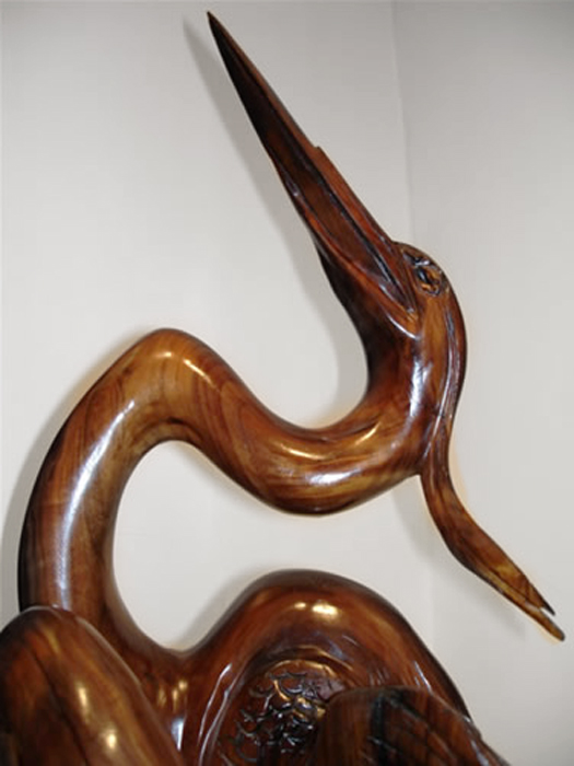 "River Dreams (detail)  48"" tall x 21""wide x 15"" deep, solid hand-carved black walnut"