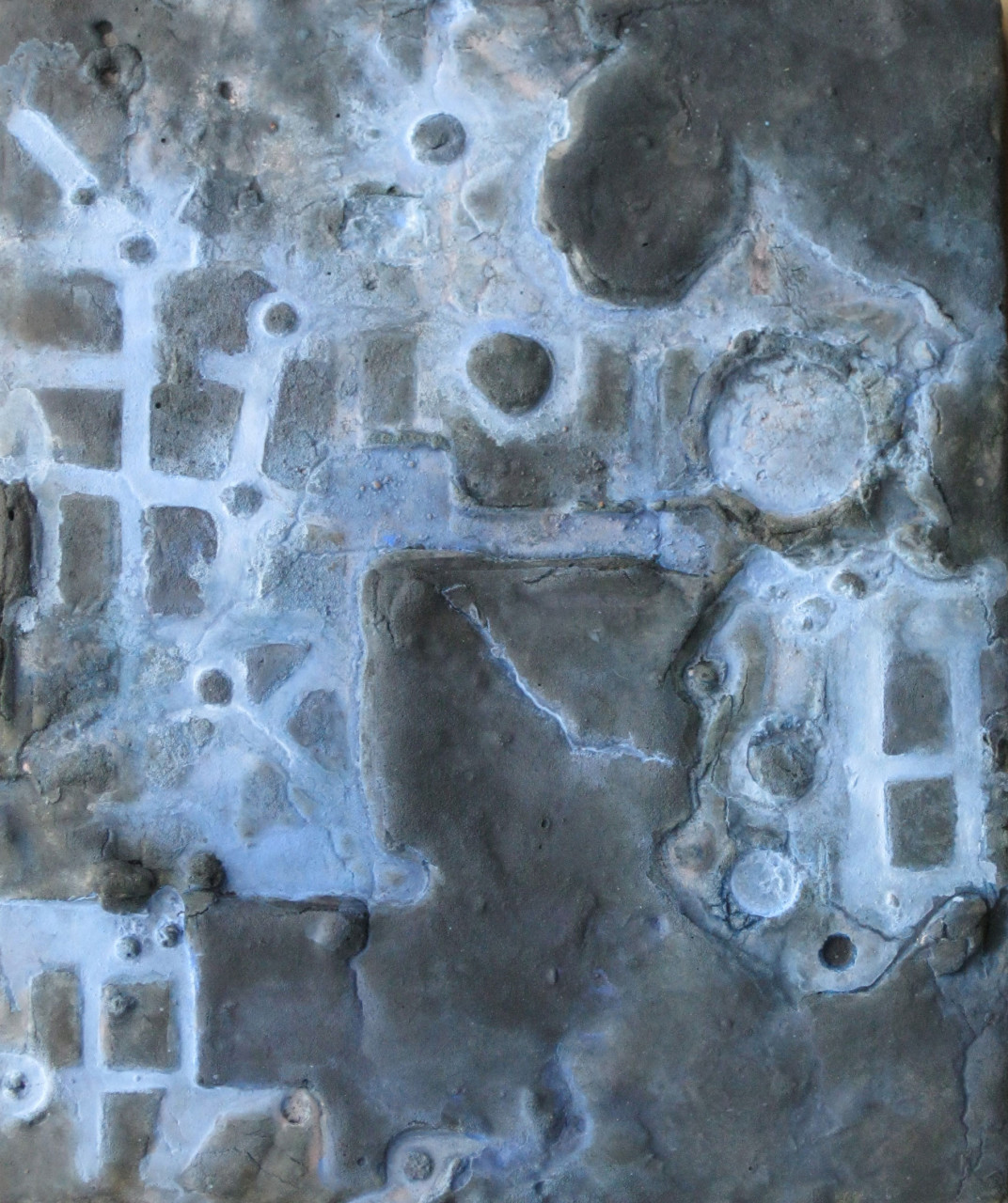 "Site 32  12""x 10"" minerals, plaster on wood"