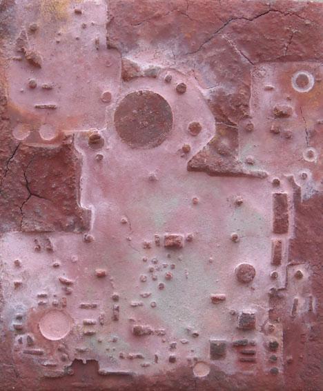 "Site 38  12""x 10"" minerals, plaster on wood"