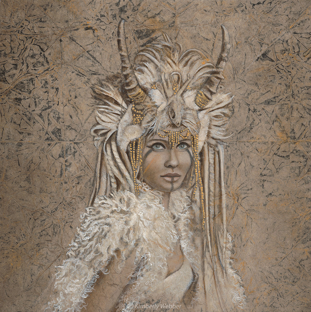 "Shamaness  12"" x 12"" earth pigments, oil on panel"