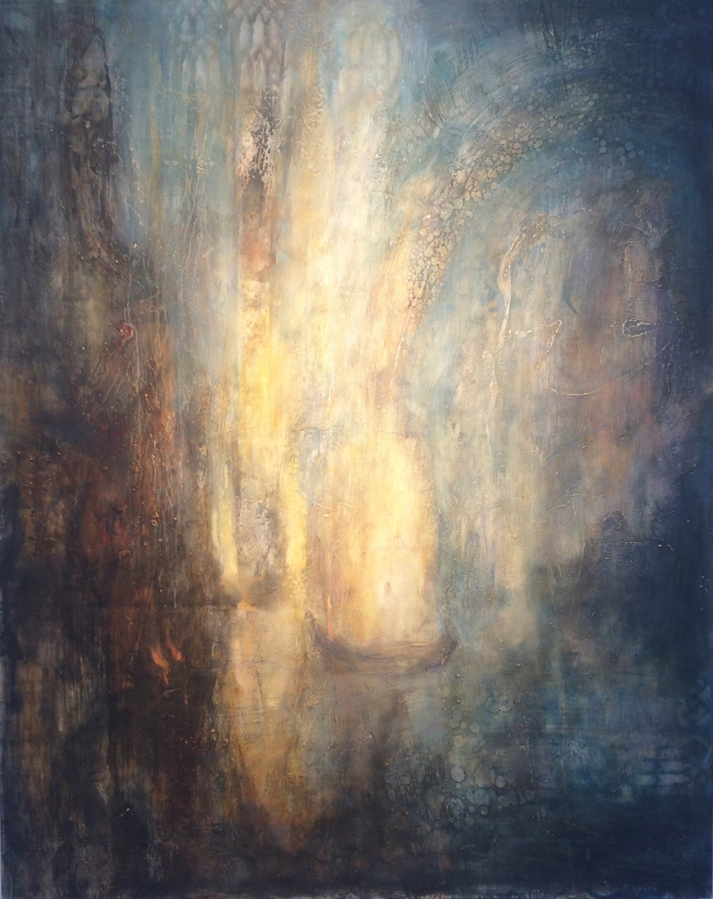 "The Lightbearer 50"" x 40"" oil, encaustic on panel"