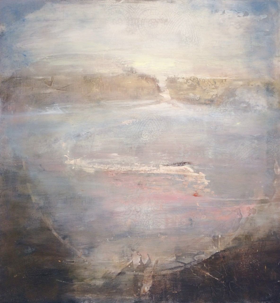 "The Reach 16"" x 15"" oil, encaustic on panel"