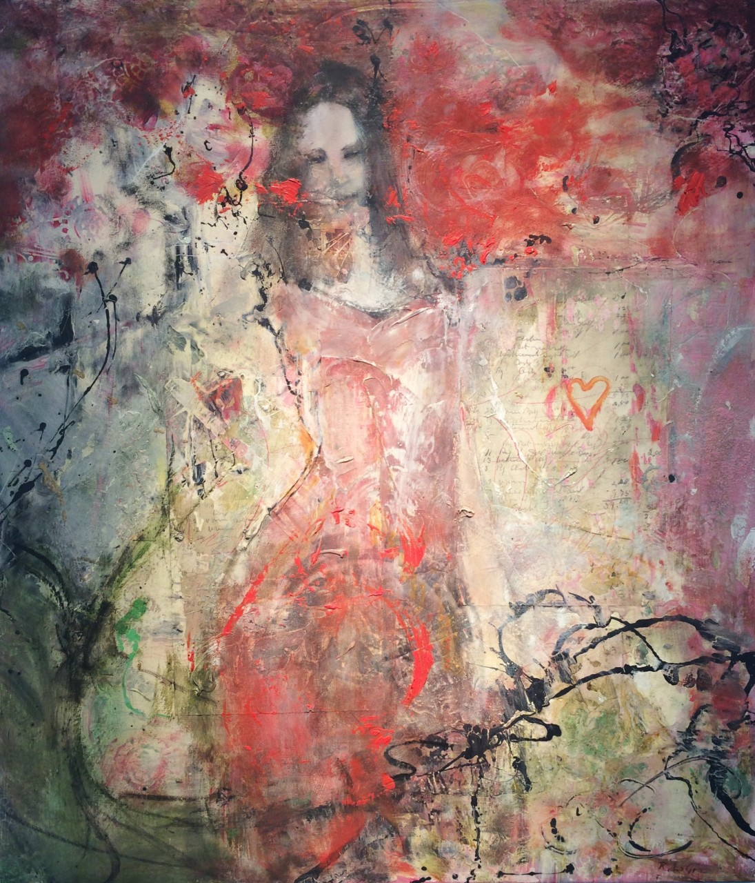 "The Rose 32"" x 28"" oil, encaustic on panel"