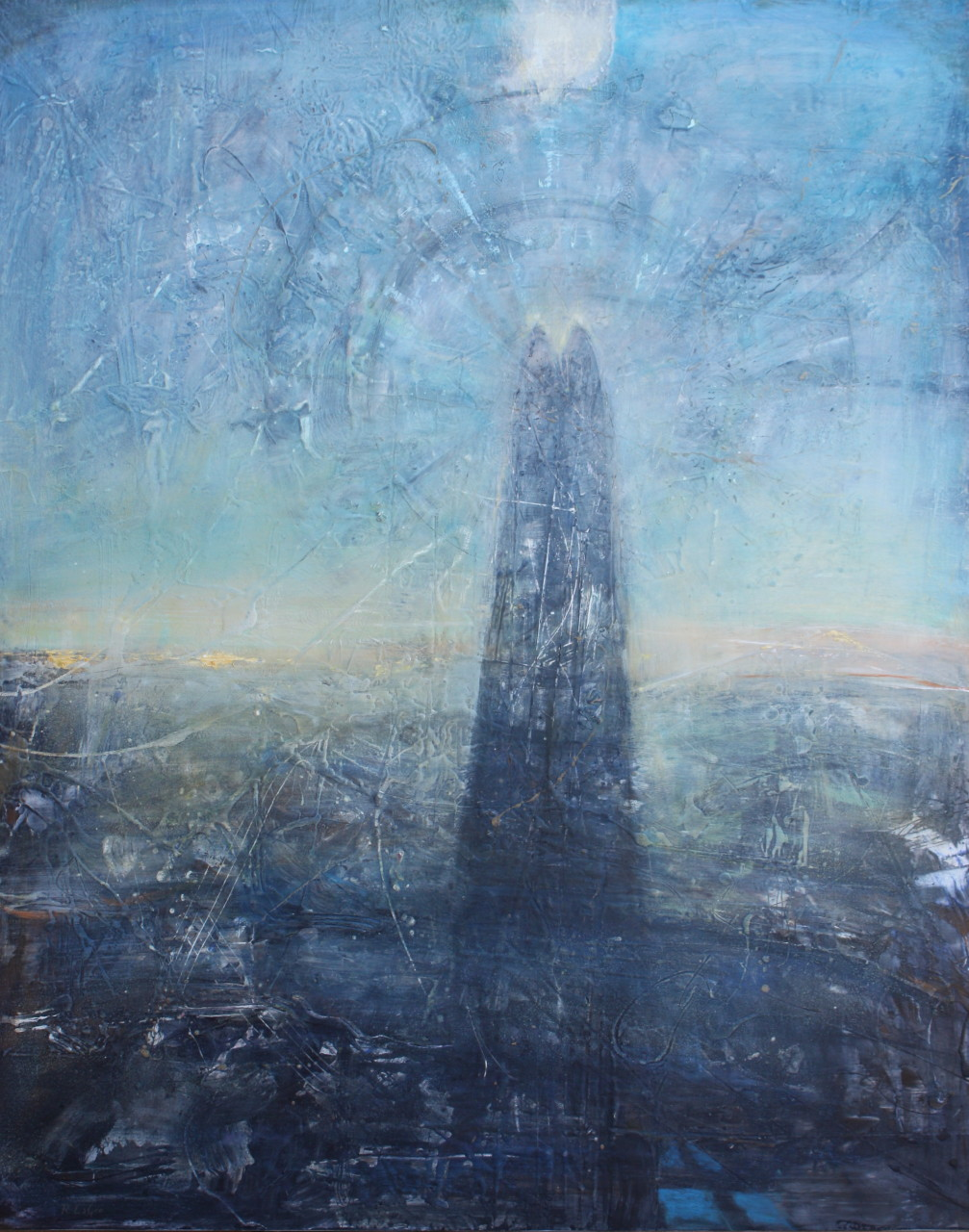"Tower of Song  50"" x 40"" oil on panel"