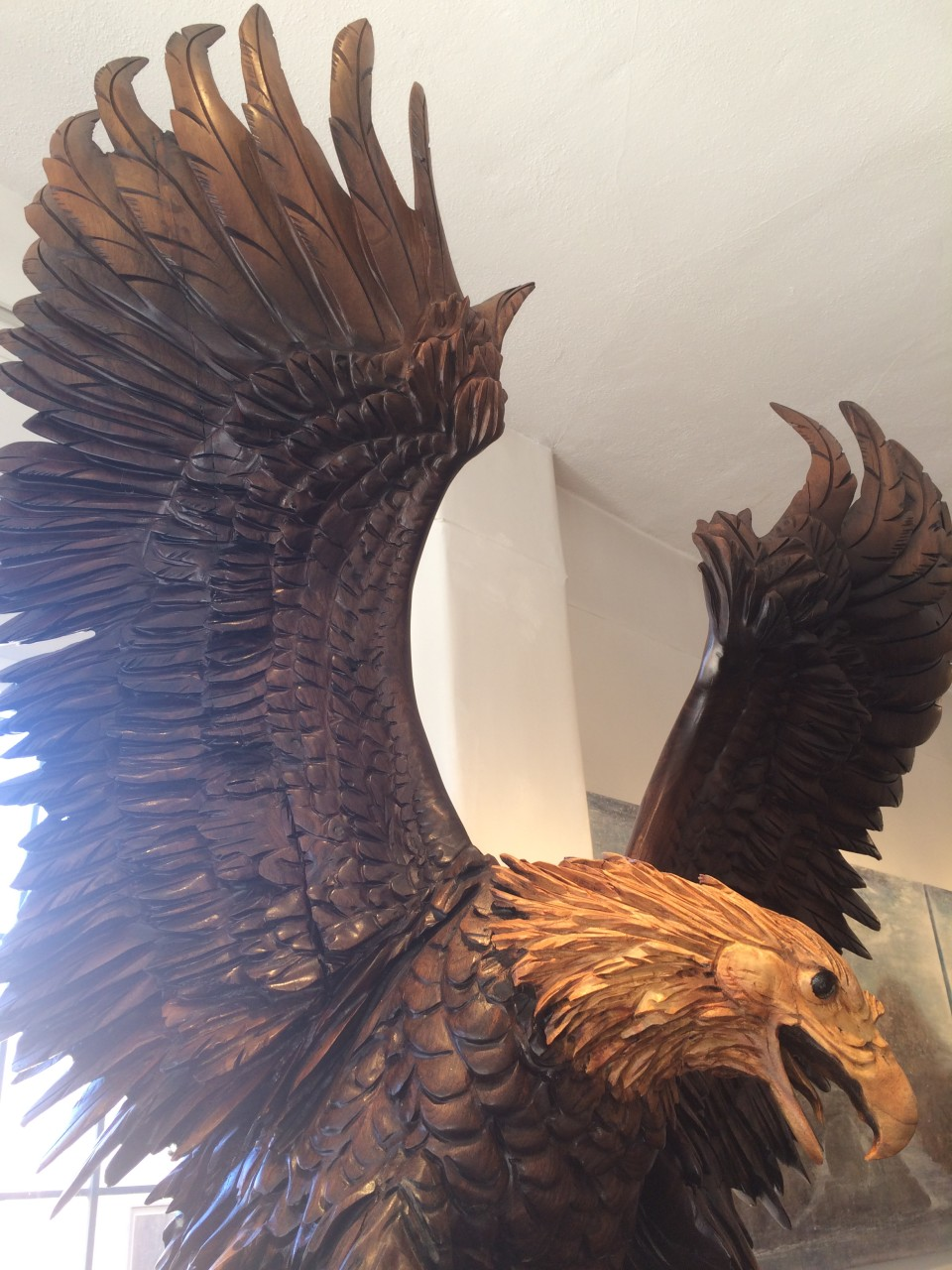 "Wings of Thunder 114"" x 48"" x 48"" black walnut  (detail)"