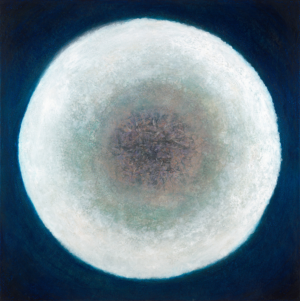 "Eclipse 44""x 44"" rice paper, minerals, oil on canvas"