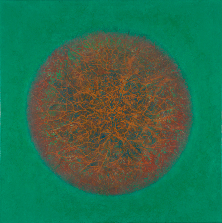 "Emerald  36""x 36"" rice paper, minerals, oil on canvas"