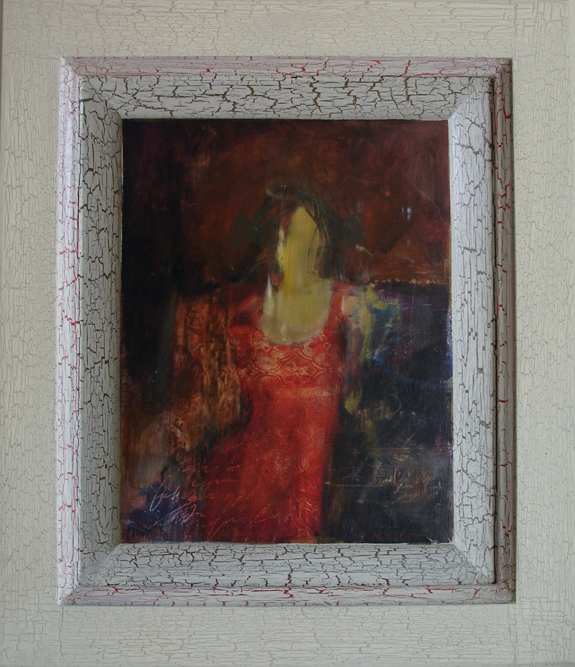 "Lady in the Red Dress  15.5"" x 13.5"" oil on panel"