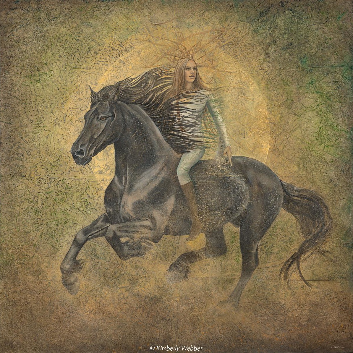 "Medicine Horse   46"" x 46"" earth pigments, oil on panel"