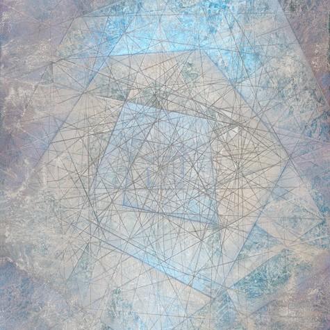 "Metal   89"" x 42"" rice paper, minerals, tempera on canvas"