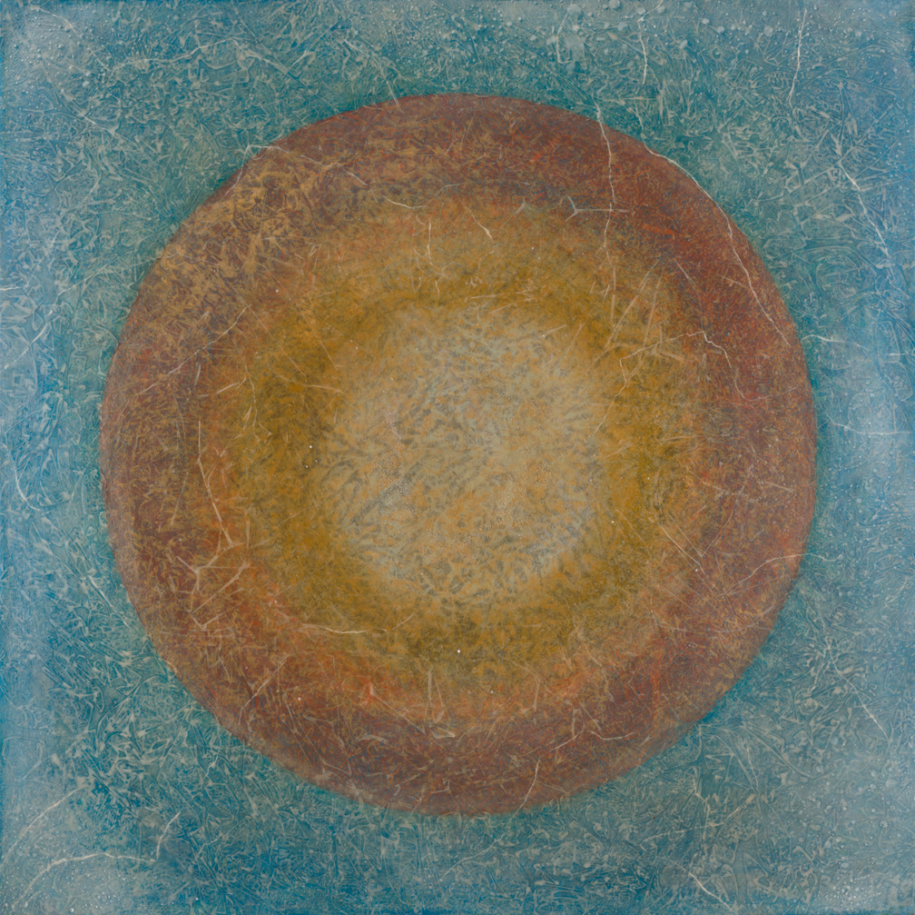 "Myra 36"" x 36"" rice paper, minerals, encaustic on canvas"