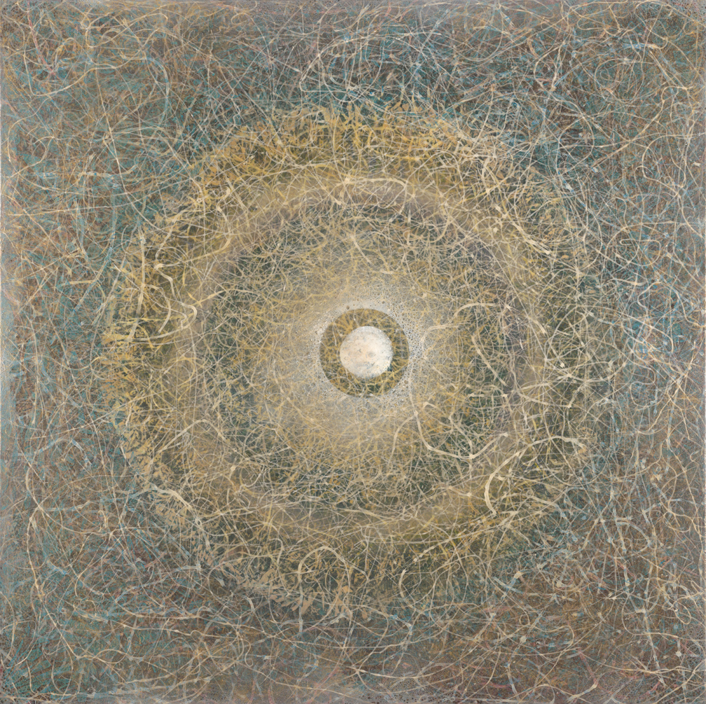 "Nucleus  44"" x44"" rice paper, minerals, oil on canvas"