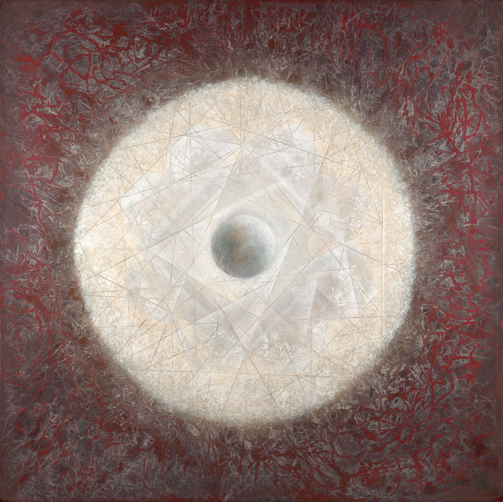 "Octave 60"" x 60"" rice paper, minerals, encaustic, oil on canvas"