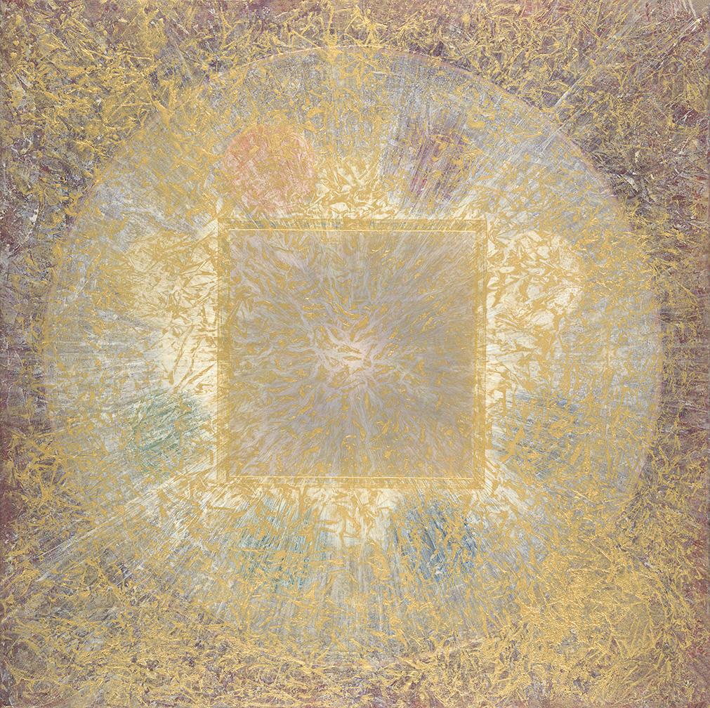"Rainbow Bridge 36"" x 36"" rice paper, minerals, encaustic, oil on canvas"