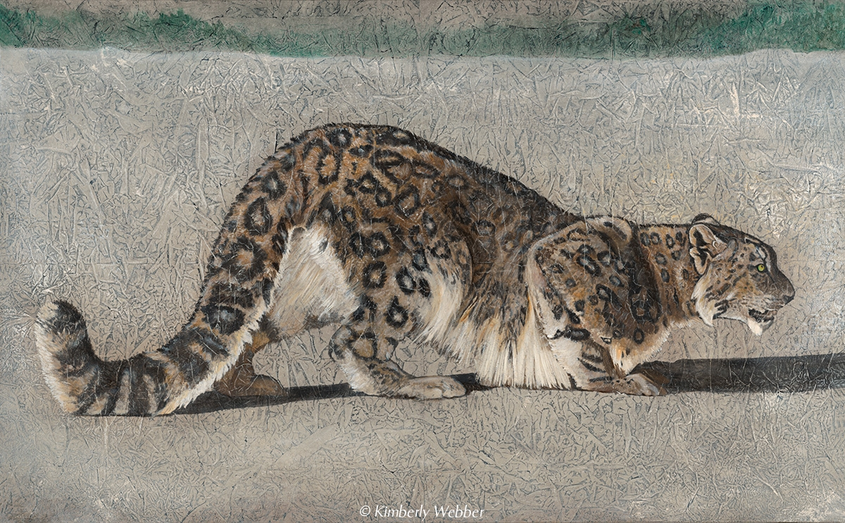 "Return of the Snow Leopard   36"" x 58"" earth pigments, oil on canvas"