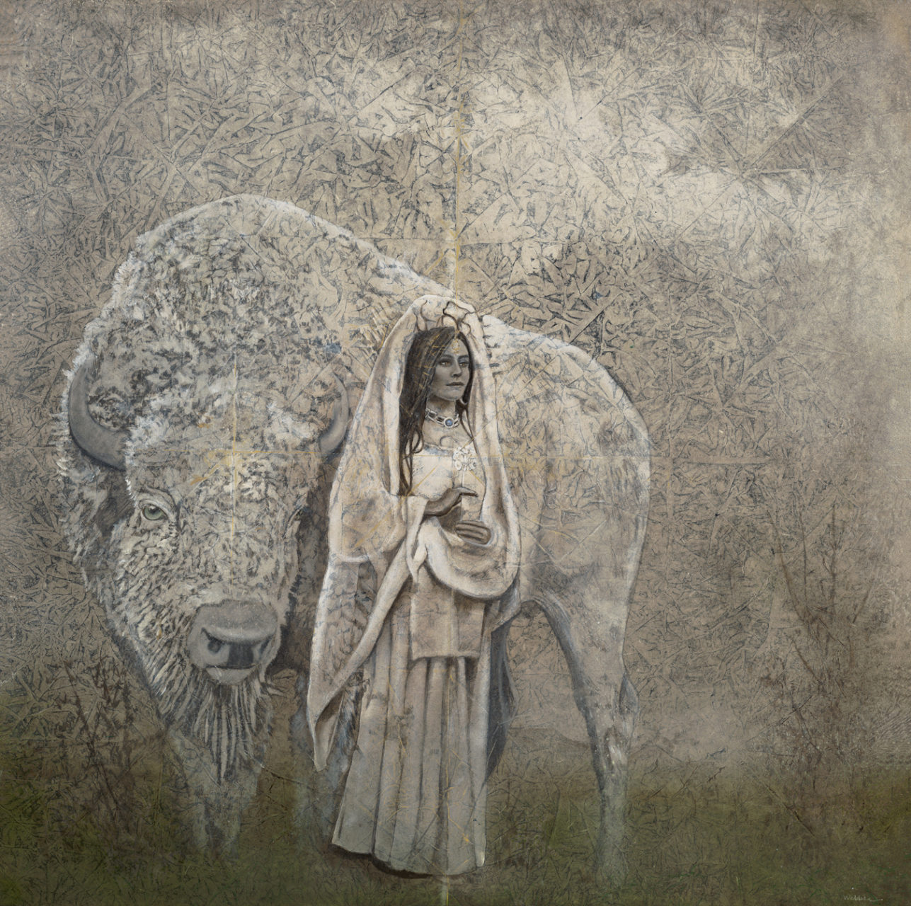"White Buffalo 36"" x 36"" rice paper, earth pigments, oil on panel"