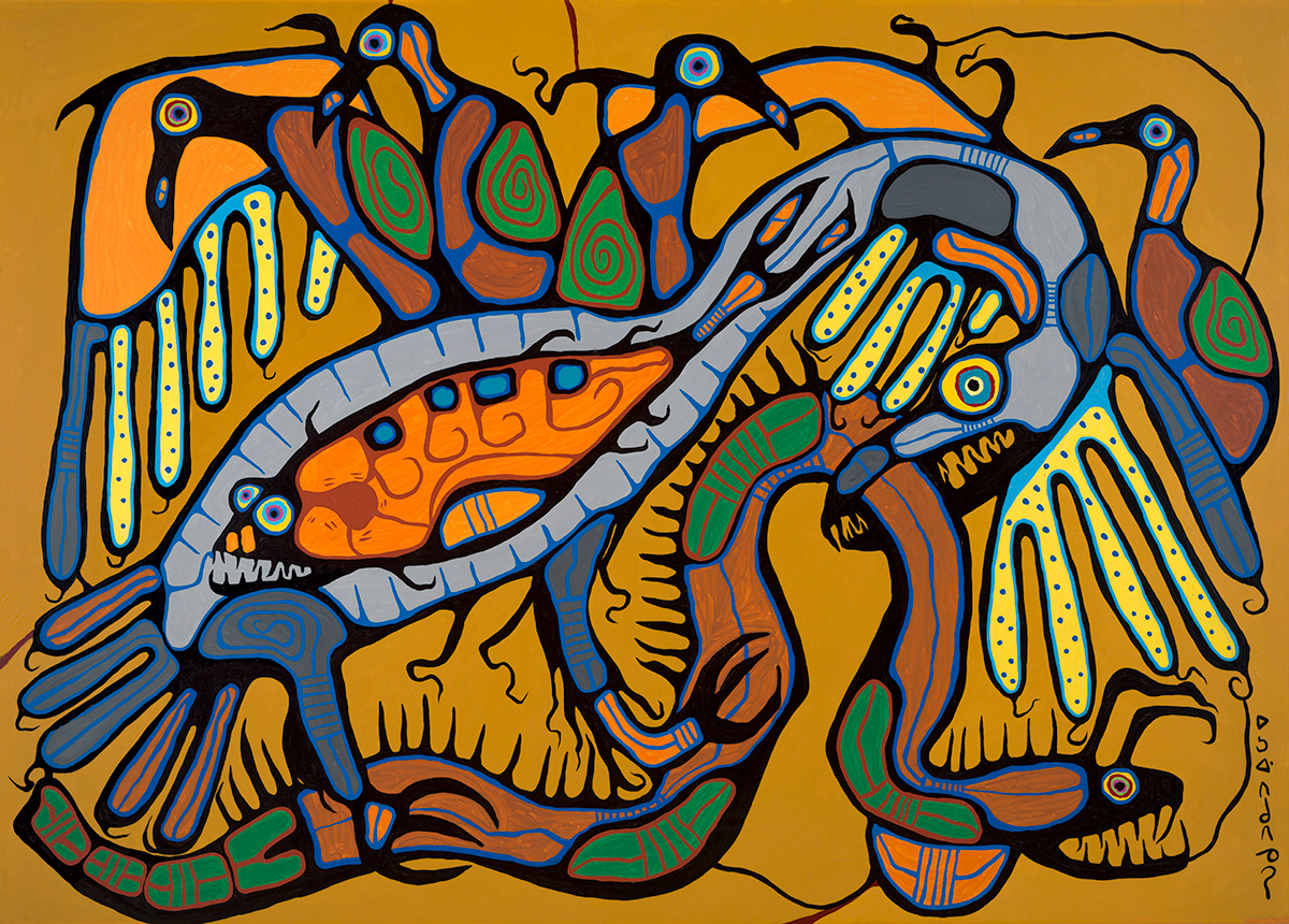 "Conquest of the Thunderbird 72"" x 96"" acrylic on canvas © 1982 Norval Morrisseau"