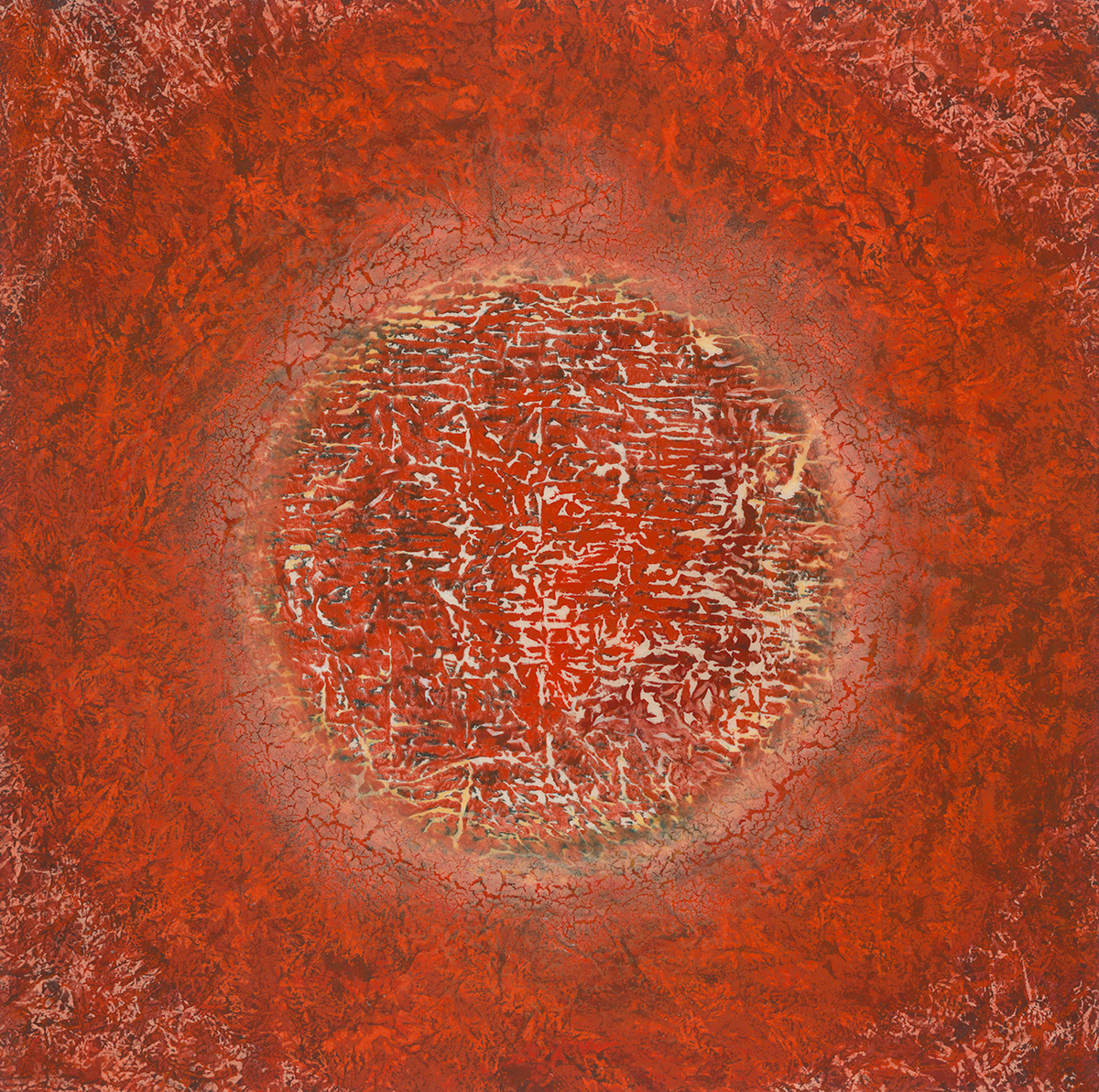 "Matter  36"" x 36"" rice paper, minerals, encaustic on canvas"