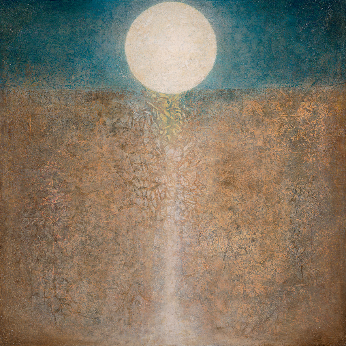 "Passing Through   48"" x 48"" rice paper, minerals, oil on canvas"