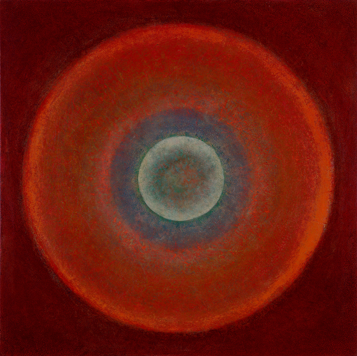 "Saturn  44"" x 44"" rice paper, minerals, encaustic on canvas"