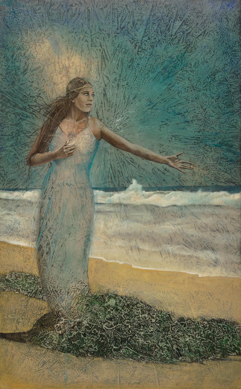 "Aphrodite | 58"" x 36"" rice paper, earth pigments, encaustic, oil on canvas"